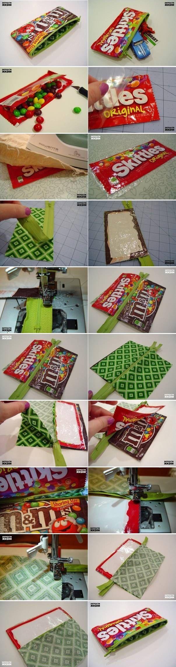 Astuccio fai da te con pacchetti di caramelle